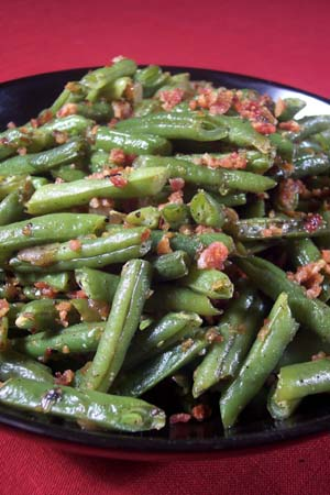 ... » Green Beans with Bacon, Shallots, and Red Chili Flakes Recipe