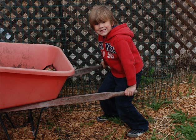Sammy pushing the wheelbarrow in the enchanted garden.