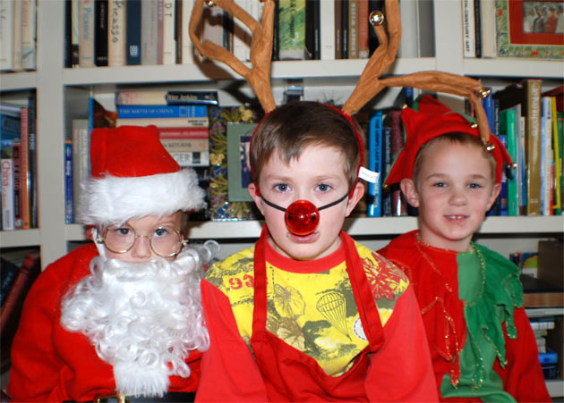 3 elves from Barbara Adams Beyond Wonderful Christmas Cookie Decorating Party.