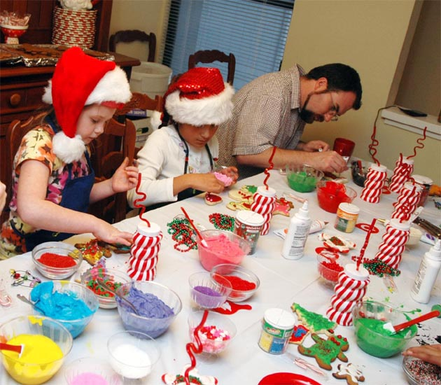 Elves working. Barbara Adams Beyond Wonderful Christmas Cookie Decorating Party.