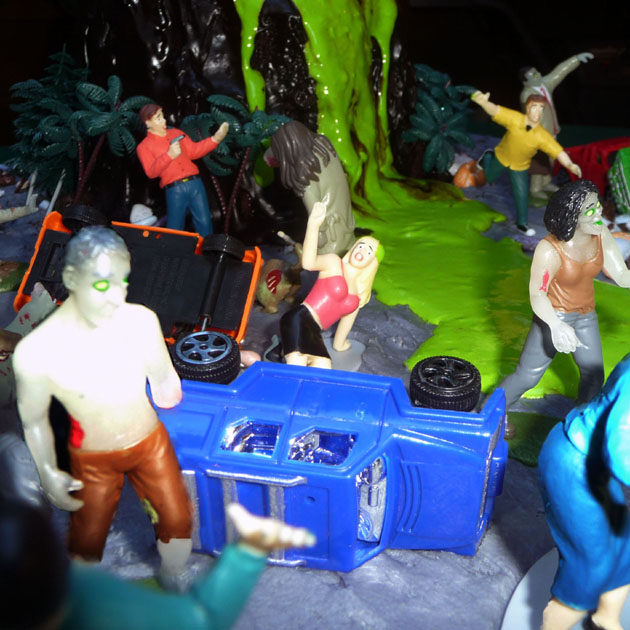 Zombies on the Amazing Erupting Volcano Cake