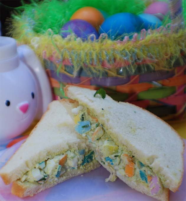 Easter egg salad sandwich recipe.